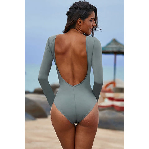 KELLIPS Gray Sexy Lace Up Swimsuit