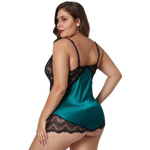 KELLIPS Green Lace Plus Size Nightwear Lingerie