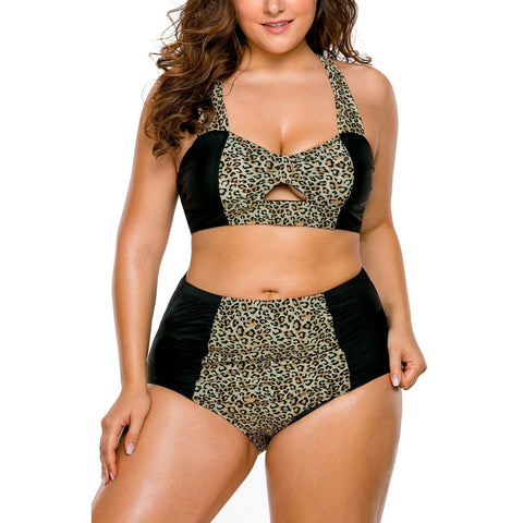 KELLIPS Leopard Hollow Out High Waist Bikini Set Swimwear