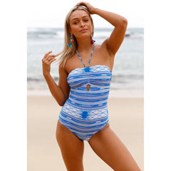 KELLIPS Blue Lace Up Crisscross Back Swimwear - KELLIPS