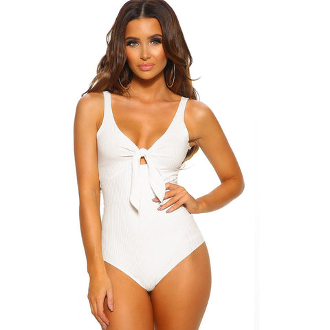 KELLIPS White Ribbed Knot Front Bodysuit