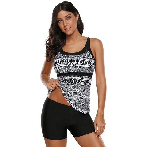 KELLIPS Sexy Black Sporty Tankini Swimsuit