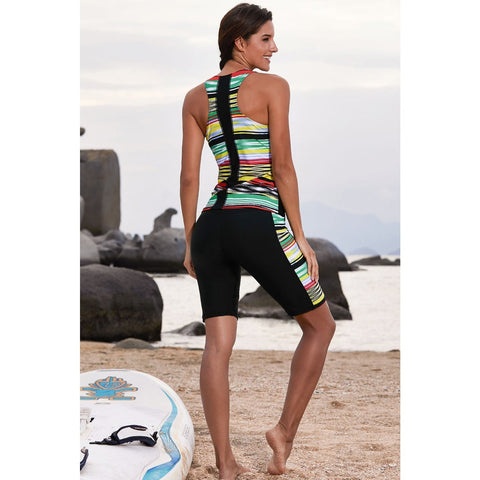 KELLIPS Black Sleeveless Rashguard Swimsuit