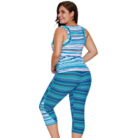 KELLIPS Blue Zigzag Print Tankini And Capris Set