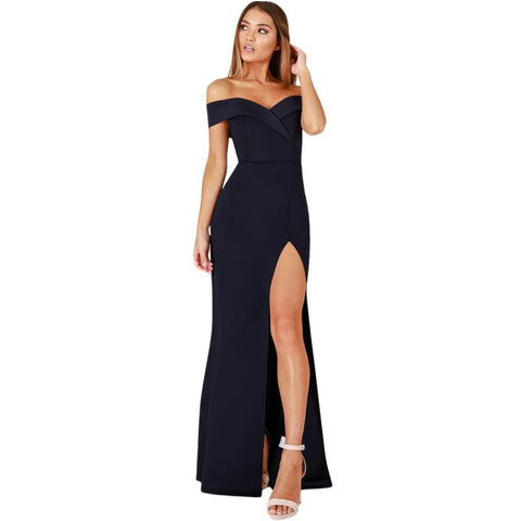 KELLIPS Navy Blue Evening Strapless Party MaxI Dress