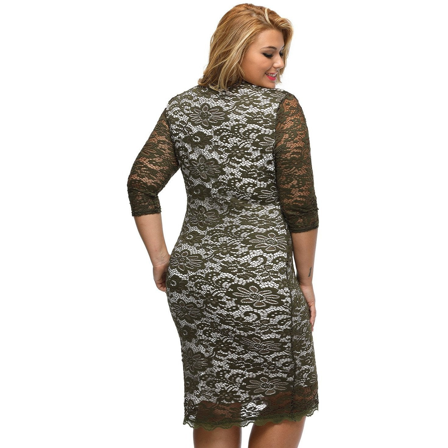 Olive Plus Size Laced Overlay High Low Dress