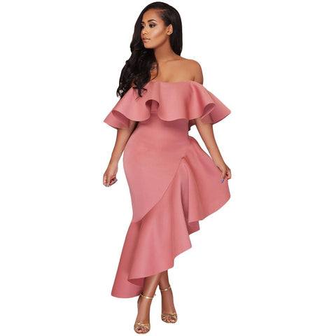 KELLIPS Pink Off Shoulder Party Dress With Slash Neck