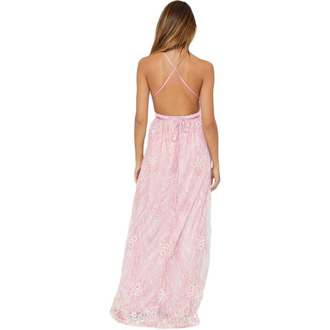 KELLIPS Pink Daring Open Back Sleeveless Party Dress
