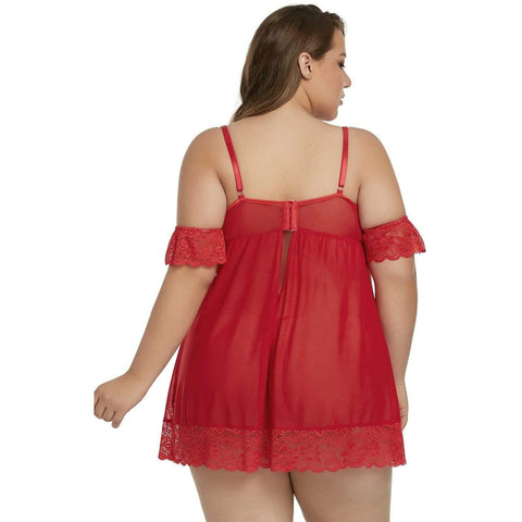 KELLIPS Plus Size Red Babydoll Nightwear Lingerie