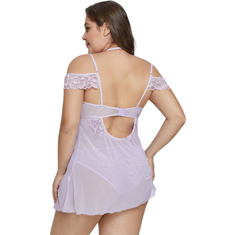 KELLIPS Purple Plus Size Floral Lace Nightwear Lingerie