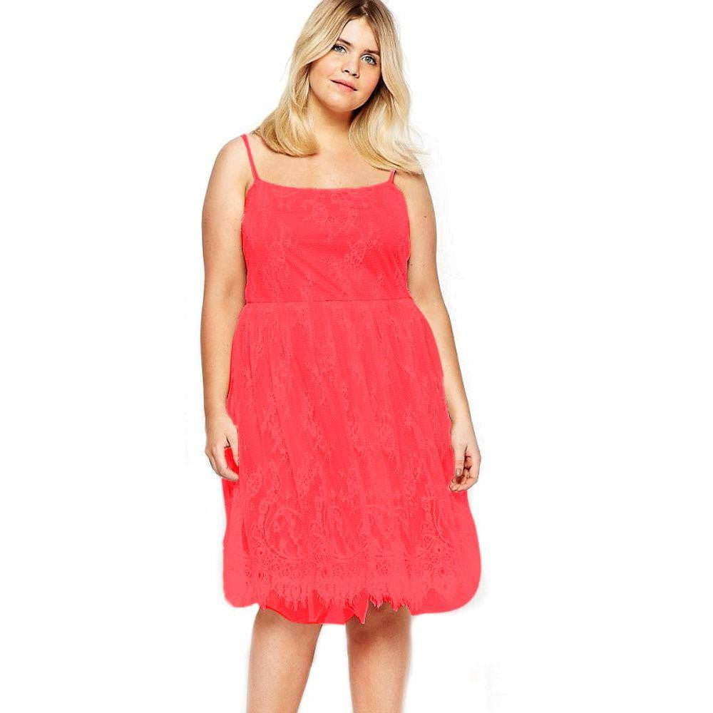 Red Plus Size Sweet Lace Skater Dress