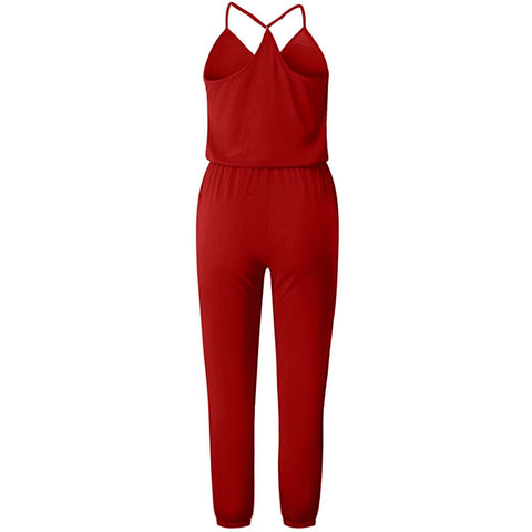 KELLIPS Red V Neck Sleeveless Casual Jumpsuit