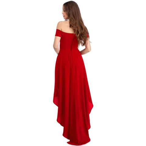 KELLIPS Red High Low Hem Off Shoulder Party Dress