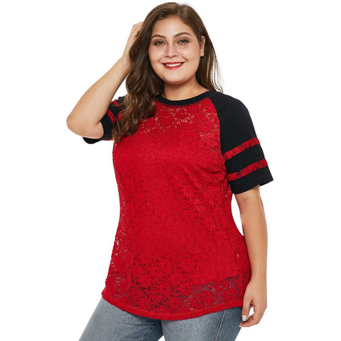 KELLIPS Red Lace Plus Size T-Shirt