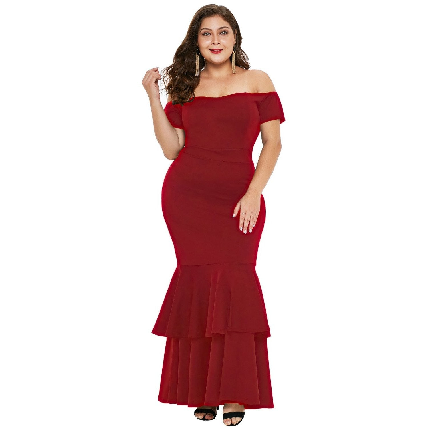 KELLIPS Red Plus Size Mermaid Maxi Dress