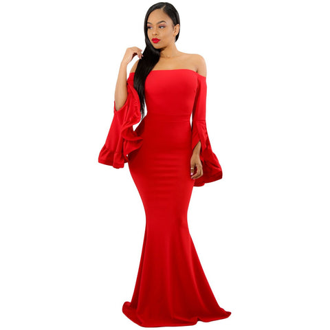 KELLIPS Red Off Shoulder Party Evening Maxi Dress