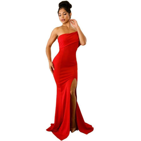 KELLIPS Red Off The Shoulder One Sleeve Slit Maxi Party Prom Dress