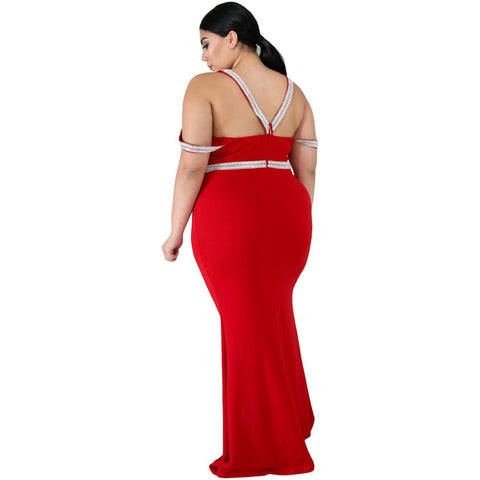 KELLIPS Red Plus Size Casual Party Maxi Dress
