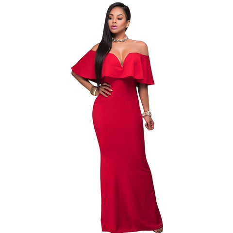 KELLIPS Red Ruffle Off Shoulder Maxi Party Dress