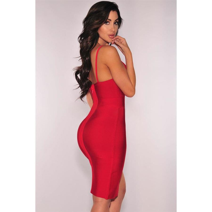 KELLIPS Red Slit Thigh Bandage Dress