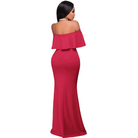 KELLIPS Rosy Ruffle Off Shoulder Maxi Party Dress