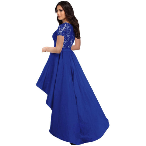 KELLIPS Royal Blue Lace Bodice Hi-Low Party Dress