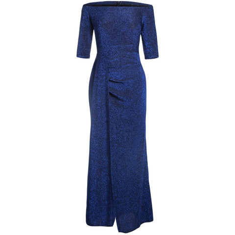 KELLIPS Royal Blue Metallic Glitter Maxi Party Dress