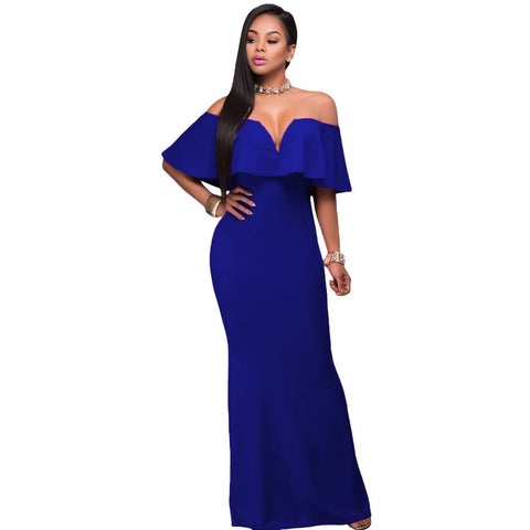KELLIPS Royal Blue Ruffle Maxi Party Dress
