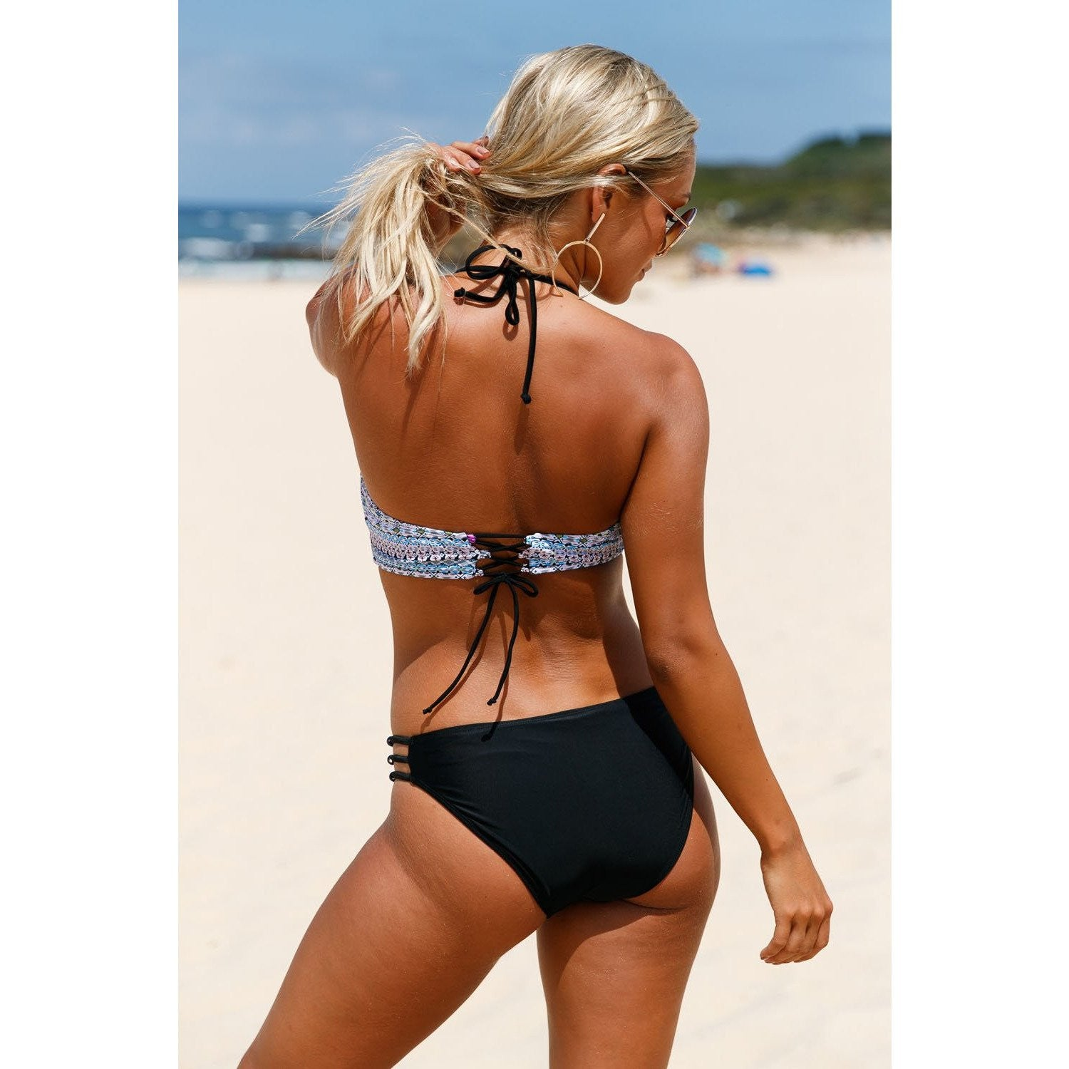 KELLIPS Blue Solid Side Strap Bikini Set - KELLIPS