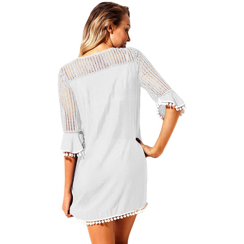 KELLIPS White Summer Beach Tunic Cover Up Swimwear