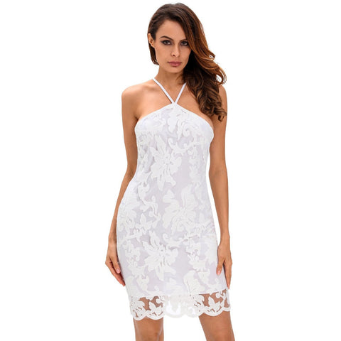 KELLIPS White Lace Party Mini Dress