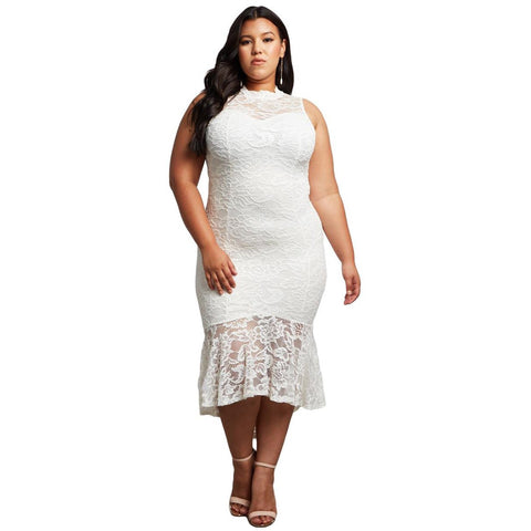 KELLIPS White Lace Plus Size Sleeveless Party Dress