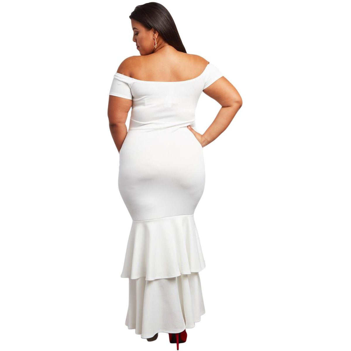 KELLIPS White Plus Size Mermaid Maxi Dress