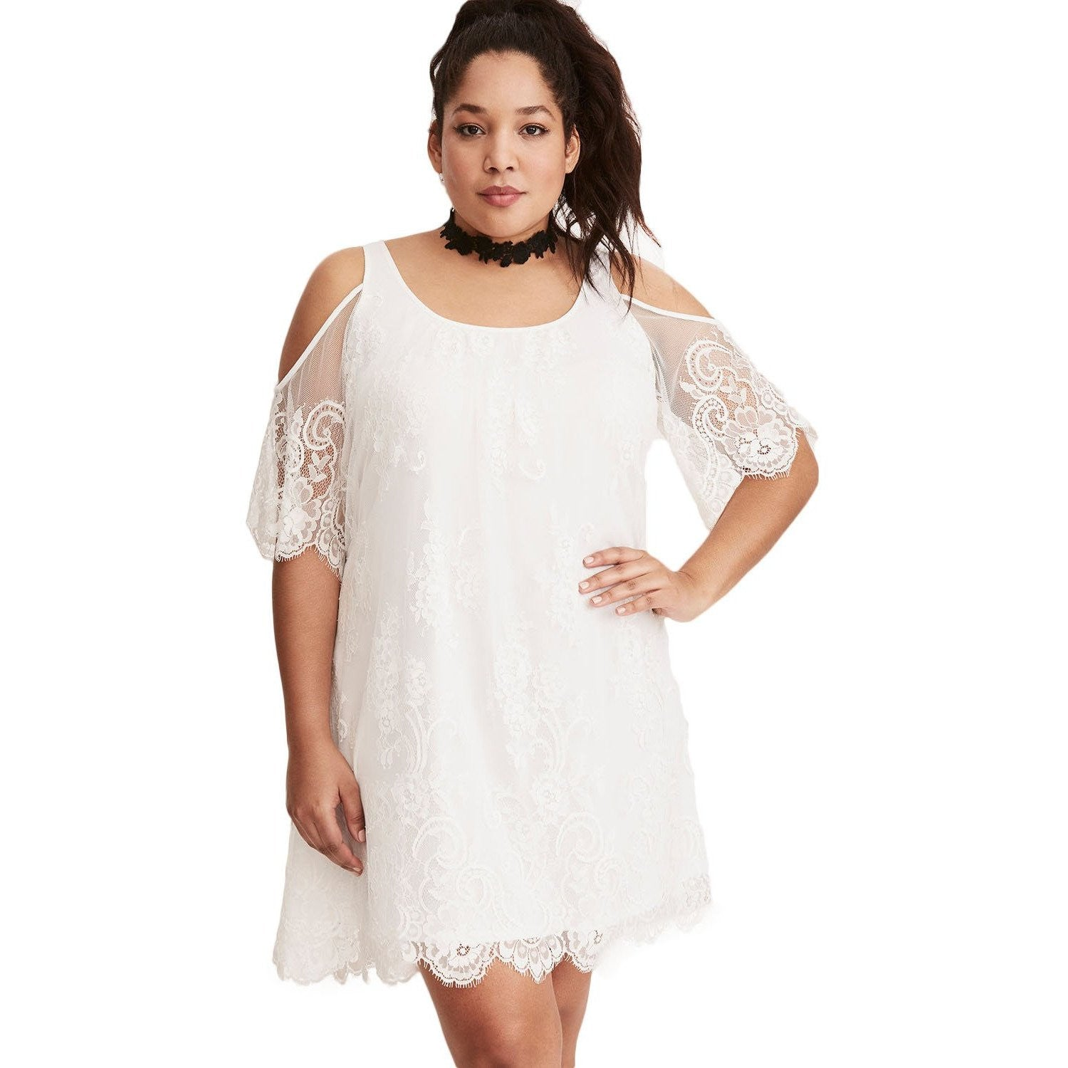 2de9c0e93ed White Plus Size Summer Dress - Mini Dress