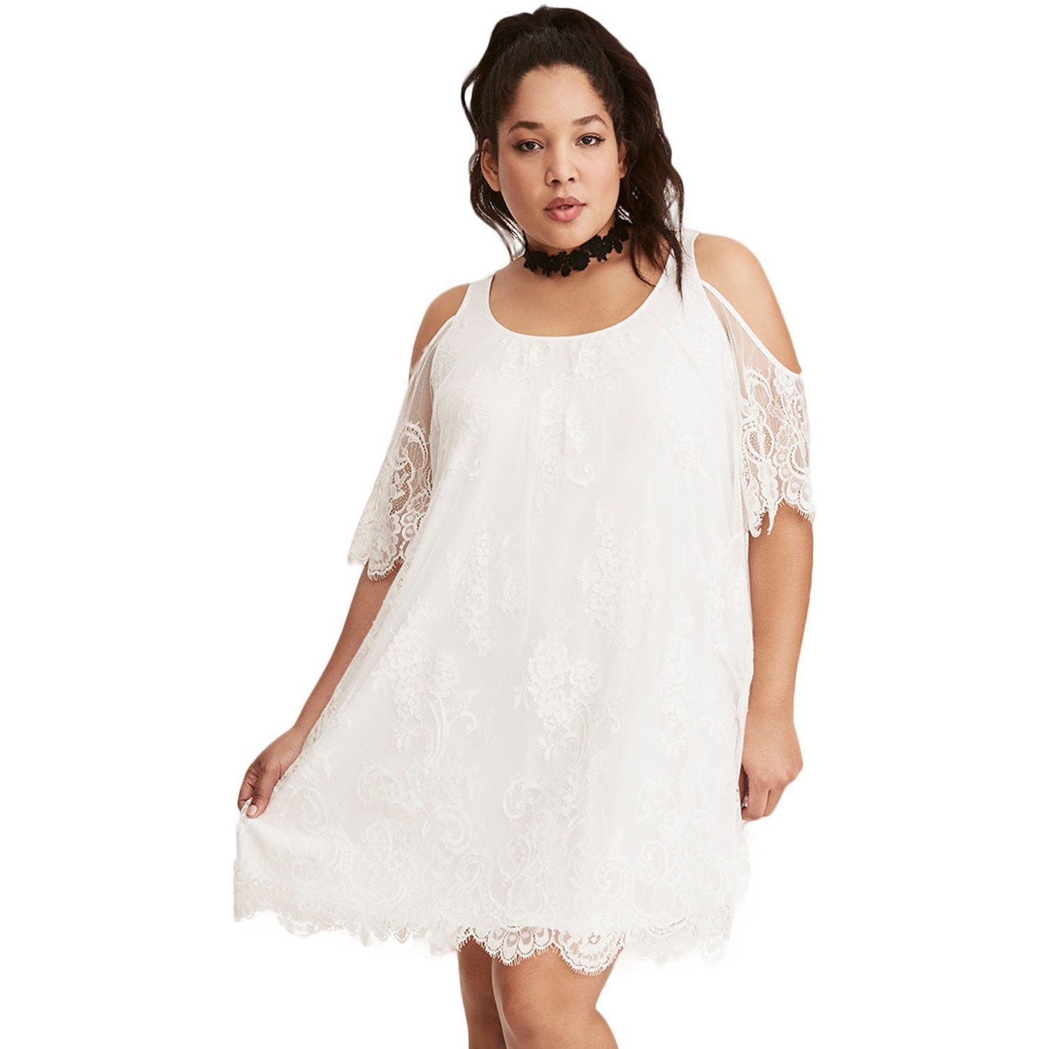 White Plus Size Summer Dress
