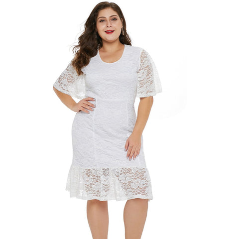 KELLIPS White Plus Size Patchwork Midi Party Dress
