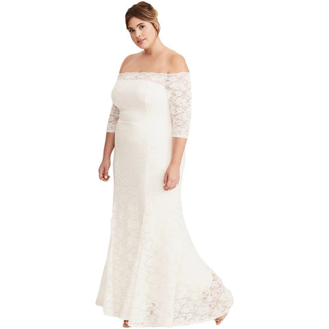 KELLIPS White Plus Size Slash Neck Party Maxi Dress