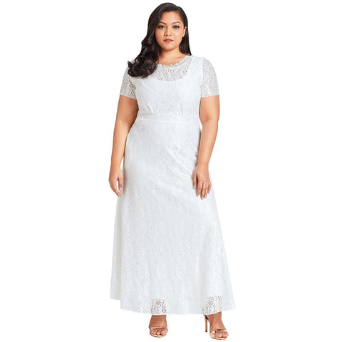 KELLIPS White Plus Size Lace Party Gown