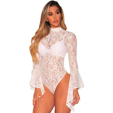 KELLIPS Solid White Sheer Patchwork Bodysuit