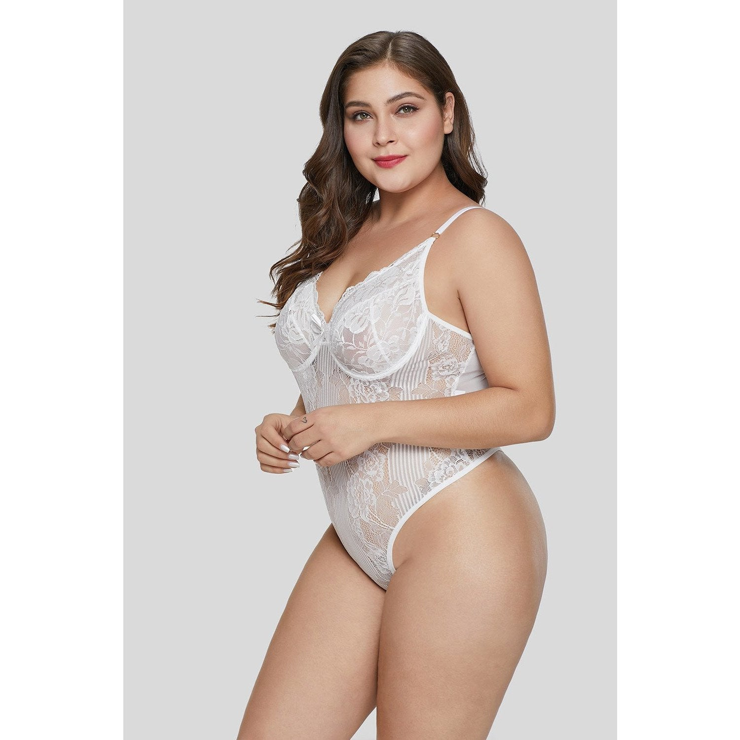 1b01f8fc4 KELLIPS White Plus Size Teddy Lingerie
