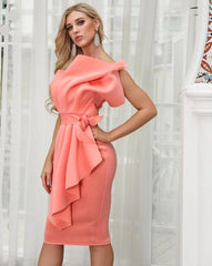 KELLIPS Sexy Off Shoulder Backless Elegant Split Solid Color Dress