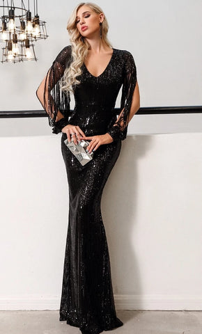 KELLIPS Sexy V Neck Long Sleeve Sequin Dress