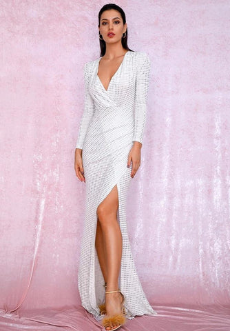 KELLIPS Sexy White Deep Cut Out Puff Sleeves Glitter Sequins Elastic Material Maxi Dress