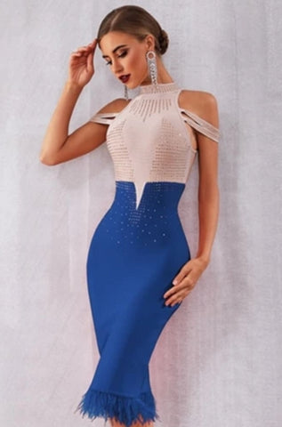 KELLIPS Women Elegant Off Shoulder Sexy Party Midi Dress