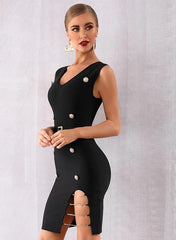 KELLIPS Black Sexy Deep V Hollow Out Sashes Club Bandage Dress