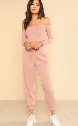 KELLIPS Off the Shoulder Crop Bardot Top and Drawstring Pants Set