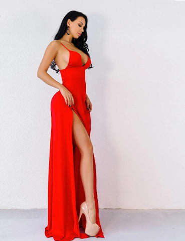 KELLIPS Red Color Party Elegant  Maxi Dress