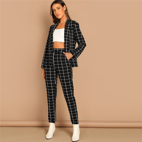 KELLIPS Black Stretchy Grid Print Shawl Collar Plaid Long Sleeve Blazer Pants Set