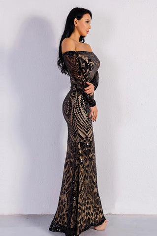 KELLIPS Sexy Slash Neck Long Sleeve Sequin Maxi Dress