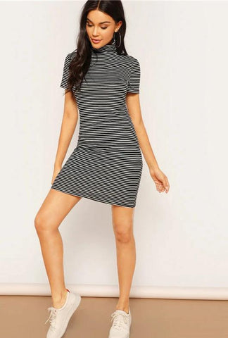 KELLIPS Casual Fitted Stretchy Short Sleeve Bodycon Dress